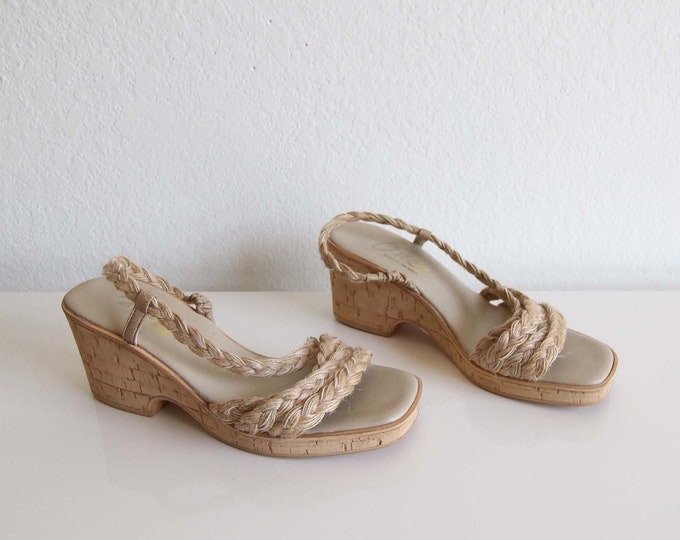 SALE Vintage Womens Sandals 1970s Sandals Wedge Heels Cork Natural Womens Shoes Size 8