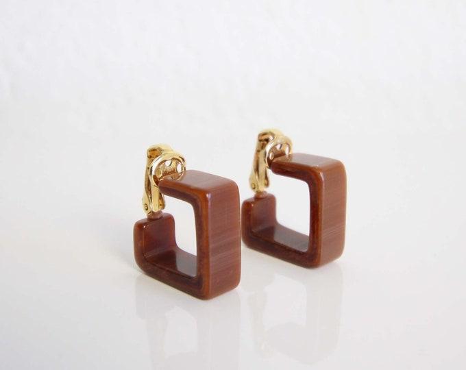 Vintage Earrings 1980s Geometric Clip Ons Small Brown