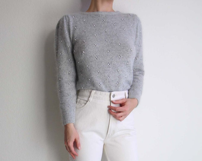 Vintage Angora Sweater Pearl Beaded Grey Soft Fuzzy Womens Sweater Extra Small