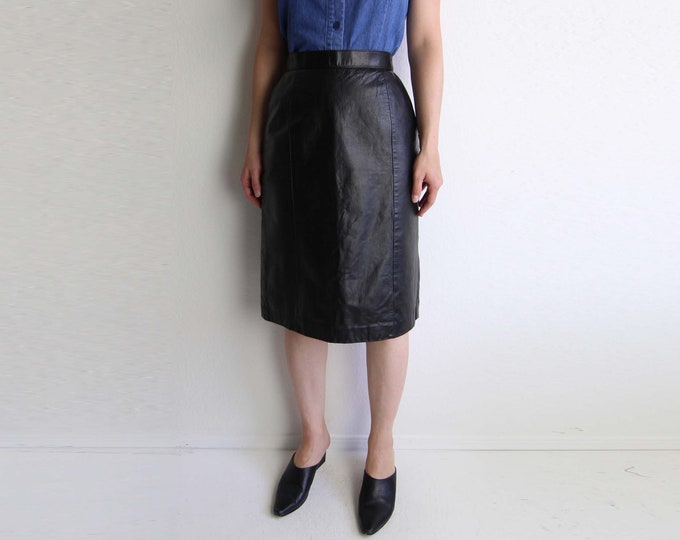Vintage Black Leather Skirt Womens Pencil Skirt 1980s Small