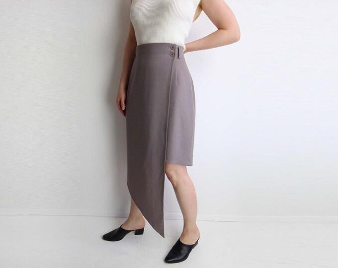 Vintage Skirt Womens 1980s Asymmetrical High Low Gray Large