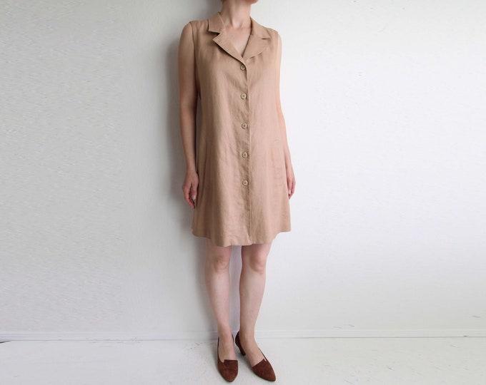 Vintage Linen Dress Blush 1990s Sleeveless Short Womens Medium