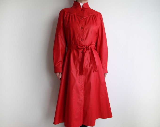 Vintage Red Trench Coat 1980s Womens Jacket Belted Medium