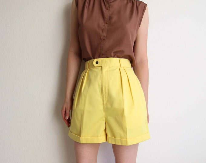 Vintage Shorts Womens Yellow Shorts High Waist Cuffed 1980s Medium