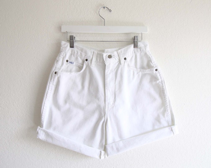 Vintage White Denim Shorts Womens Jean Shorts Chic Jeans 30 Large Made in USA