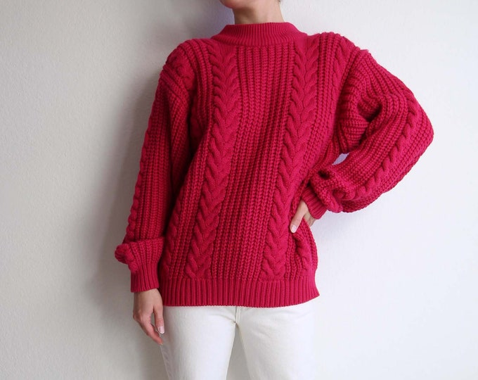 Vintage Womens Sweater Cable Knit 1980s Raspberry Pink
