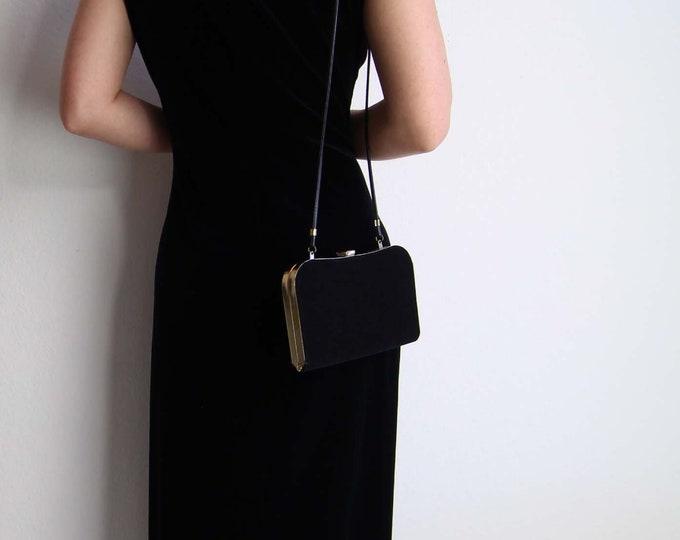 Vintage Black Velvet Evening Bag Shoulder Bag Purse