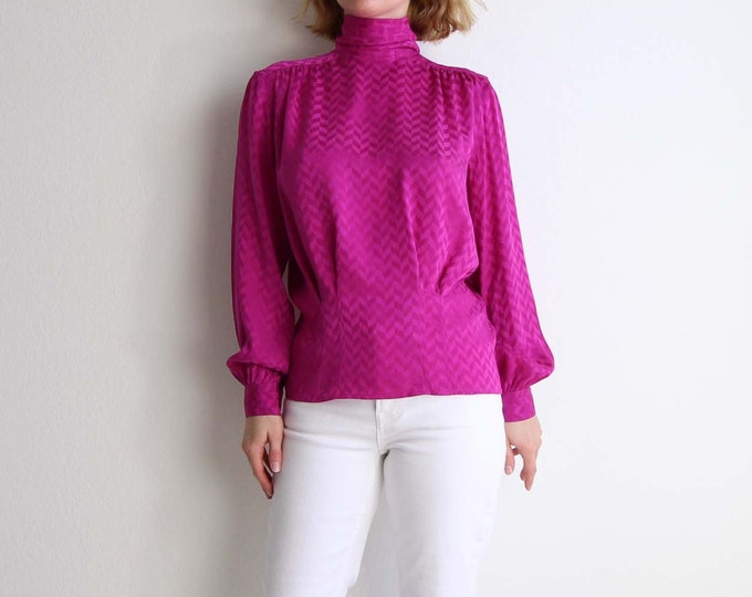 Vintage Pink Blouse Womens Top Small Magenta 1980s Silk Blouse