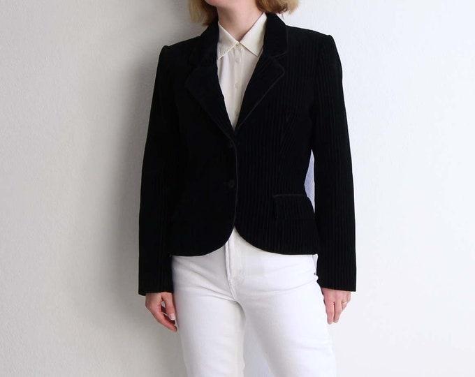 Vintage Black Velvet Blazer 1980s Womens Jacket Small
