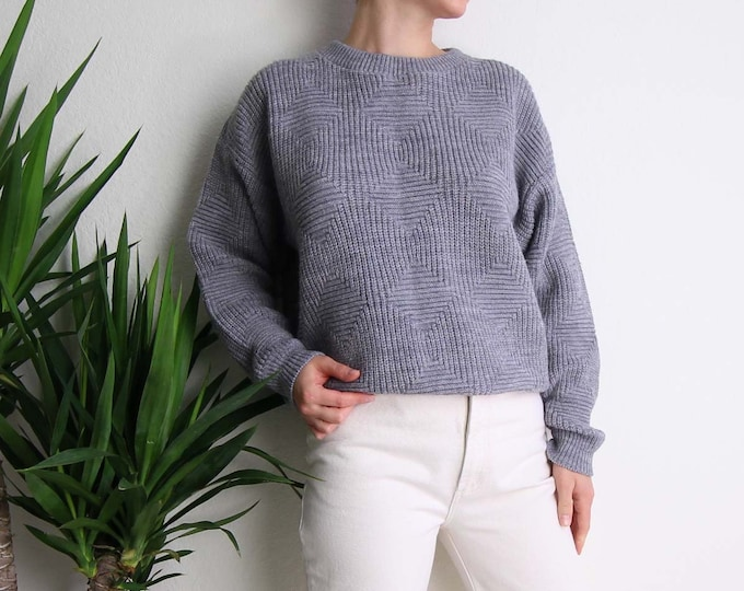 Vintage Gray Sweater 1980s Knit Unisex Jumper