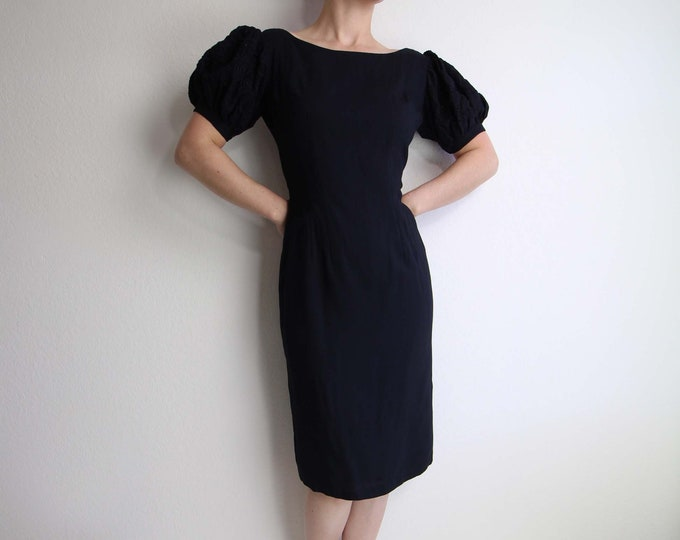 Vintage 1960s Dress Navy Linen Puff Sleeve Cocktail Dress Womens Small