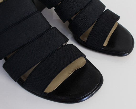 Vintage 1990s Mules Black Strappy Sandals Womens … - image 3