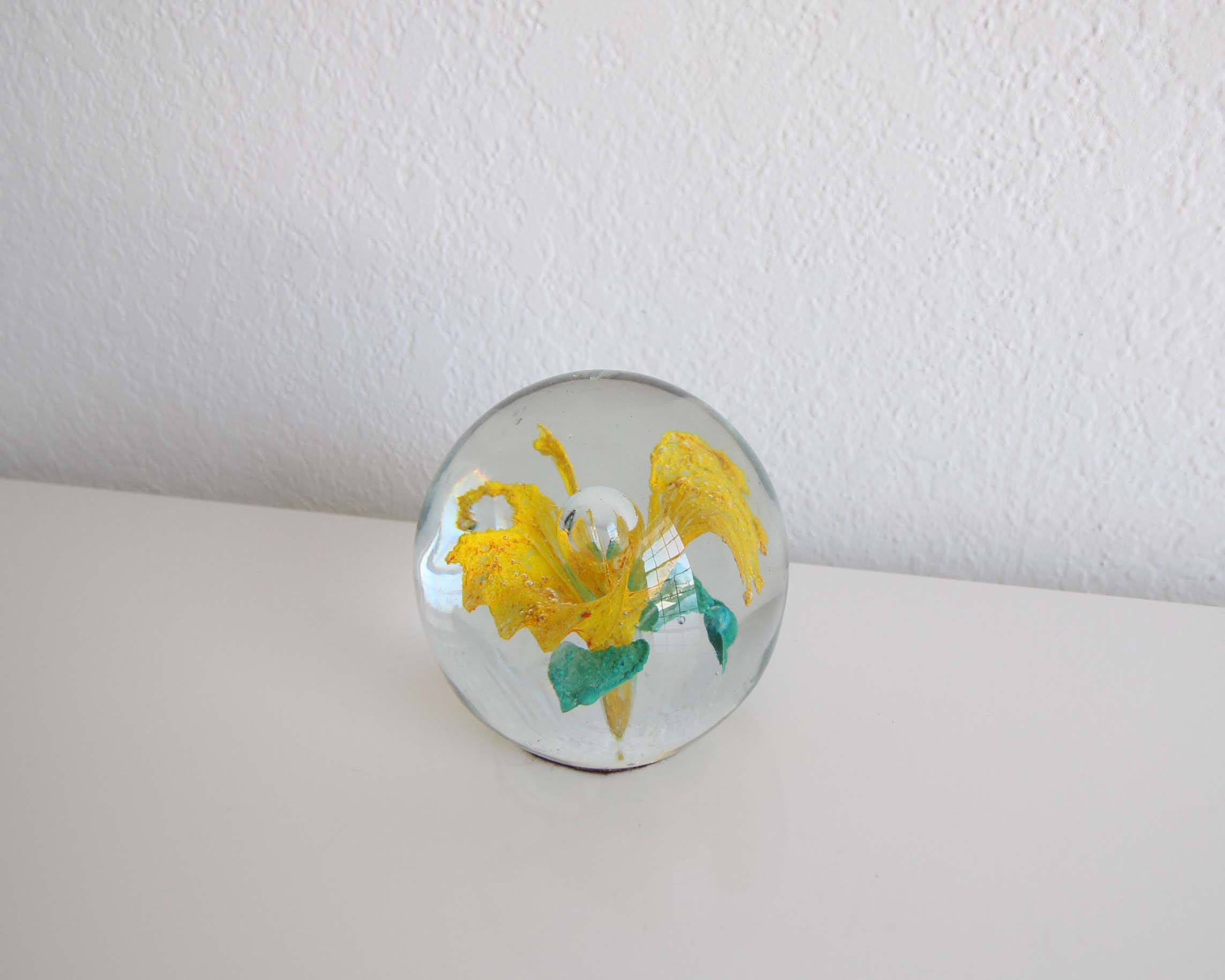 Vintage Glass Flower Globe Bubble Paper Weight Home Dcor Yellow