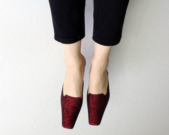 Vintage 1990s Mules Red Brocade Kitten Heels Wome… - image 4