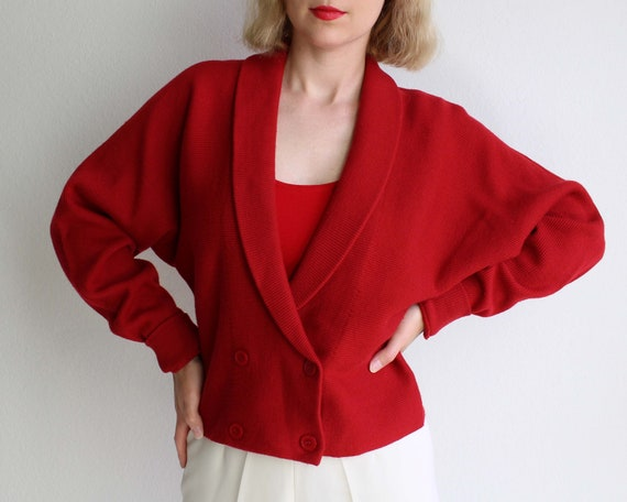 Vintage Red Cardigan 1990s Cropped Sweater Womens