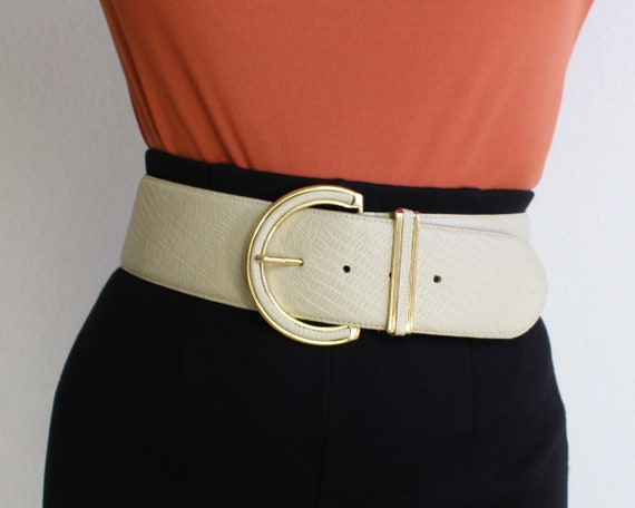 Vintage Womens Belt 1980s Wide Leather Belt