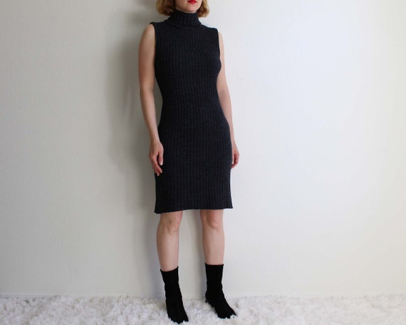 Vintage 1990s Dress Ribbed Knit Gray Sleeveless T… - image 10