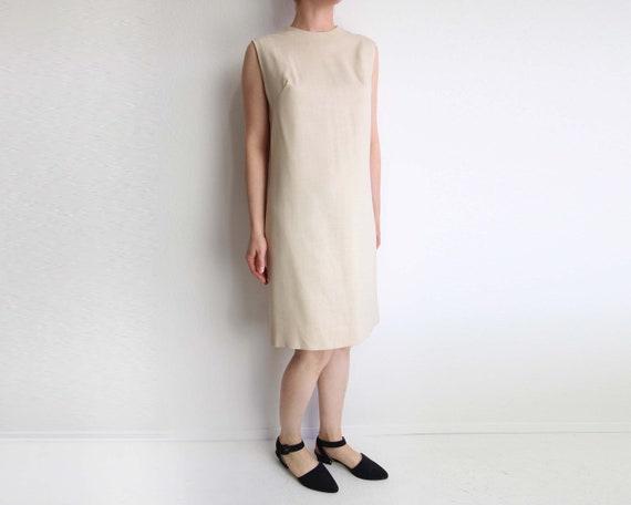 4d56a4449c Vintage Linen Dress Womens 1960s Shift Dress Sand Sleeveless