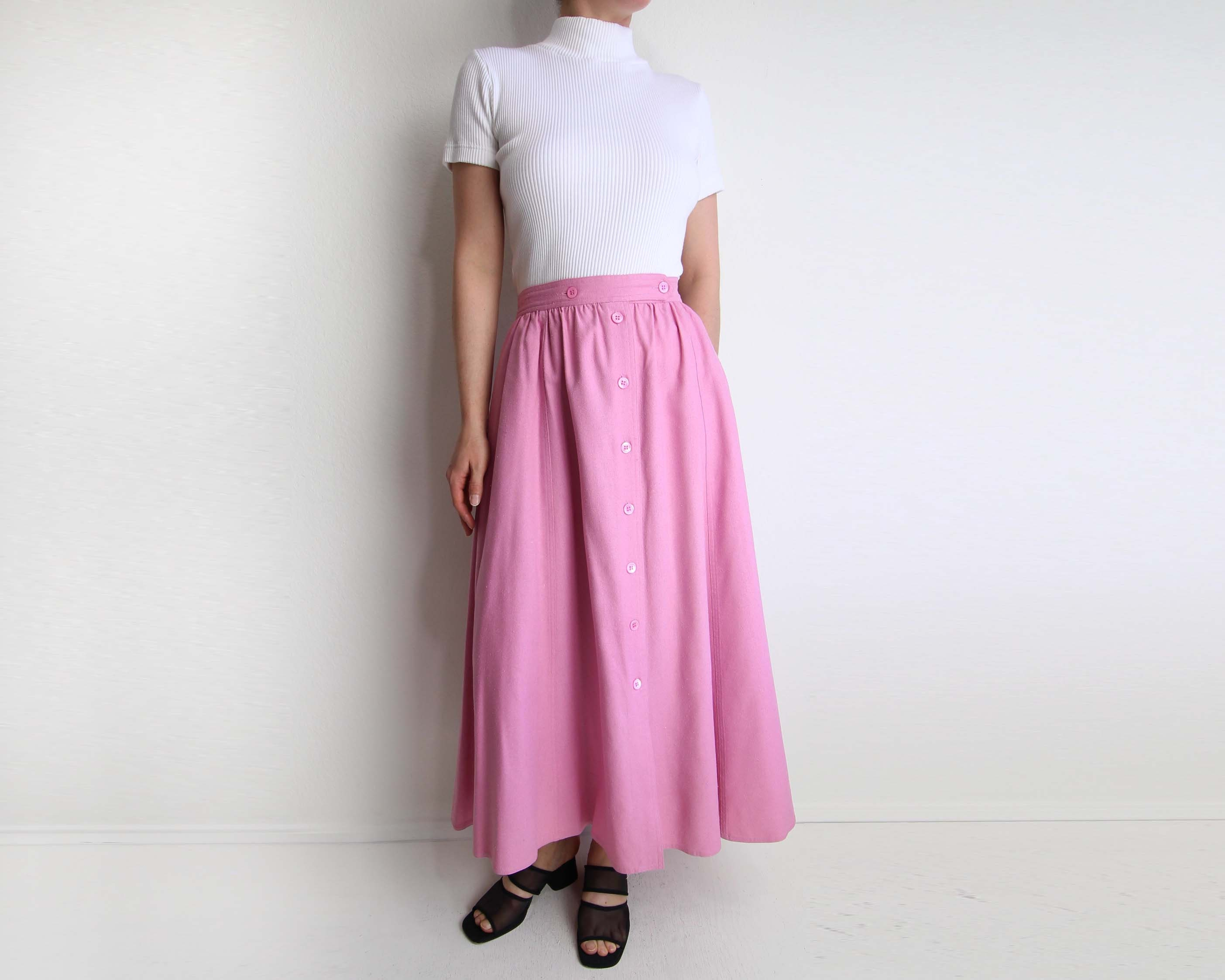 609687f32d3d0c Vintage Pink Skirt Womens 1980s Raw Silk Long Medium. gallery photo ...