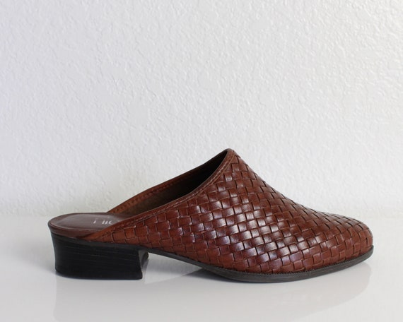 Vintage 1990s Leather Woven Mules Womens Shoes Siz