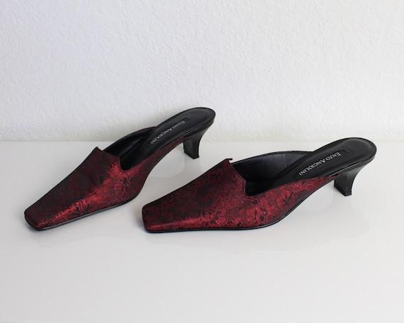 Vintage 1990s Mules Red Brocade Kitten Heels Wome… - image 5