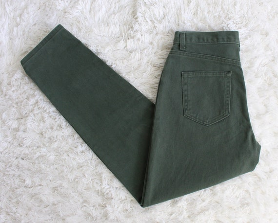 Vintage Womens Jeans 30 High Waist 1990s Green Me… - image 1