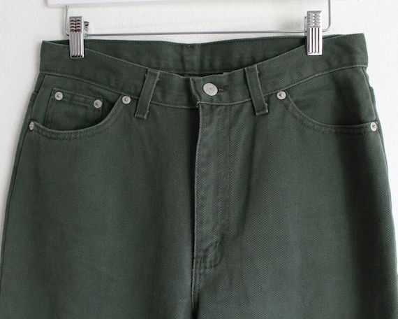 Vintage Womens Jeans 30 High Waist 1990s Green Me… - image 3