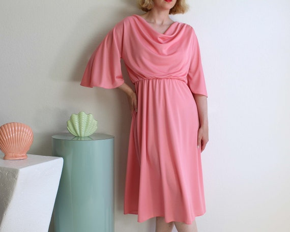 Vintage 1970s Pink Dress Bell Sleeve Womens Extra