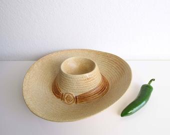 VINTAGE Chips Salsa Dish Sombrero Western Ceramic Serving Dish Platter