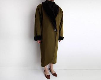 VINTAGE Faux Fur Coat Olive Green 1980s Wool Womens Medium