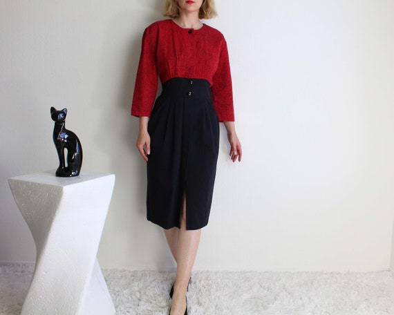 Vintage 1980s Womens Dress Small Black Red Denim
