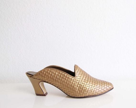 Vintage Womens Shoes Size 7 Bronze 1990s Mules Lea