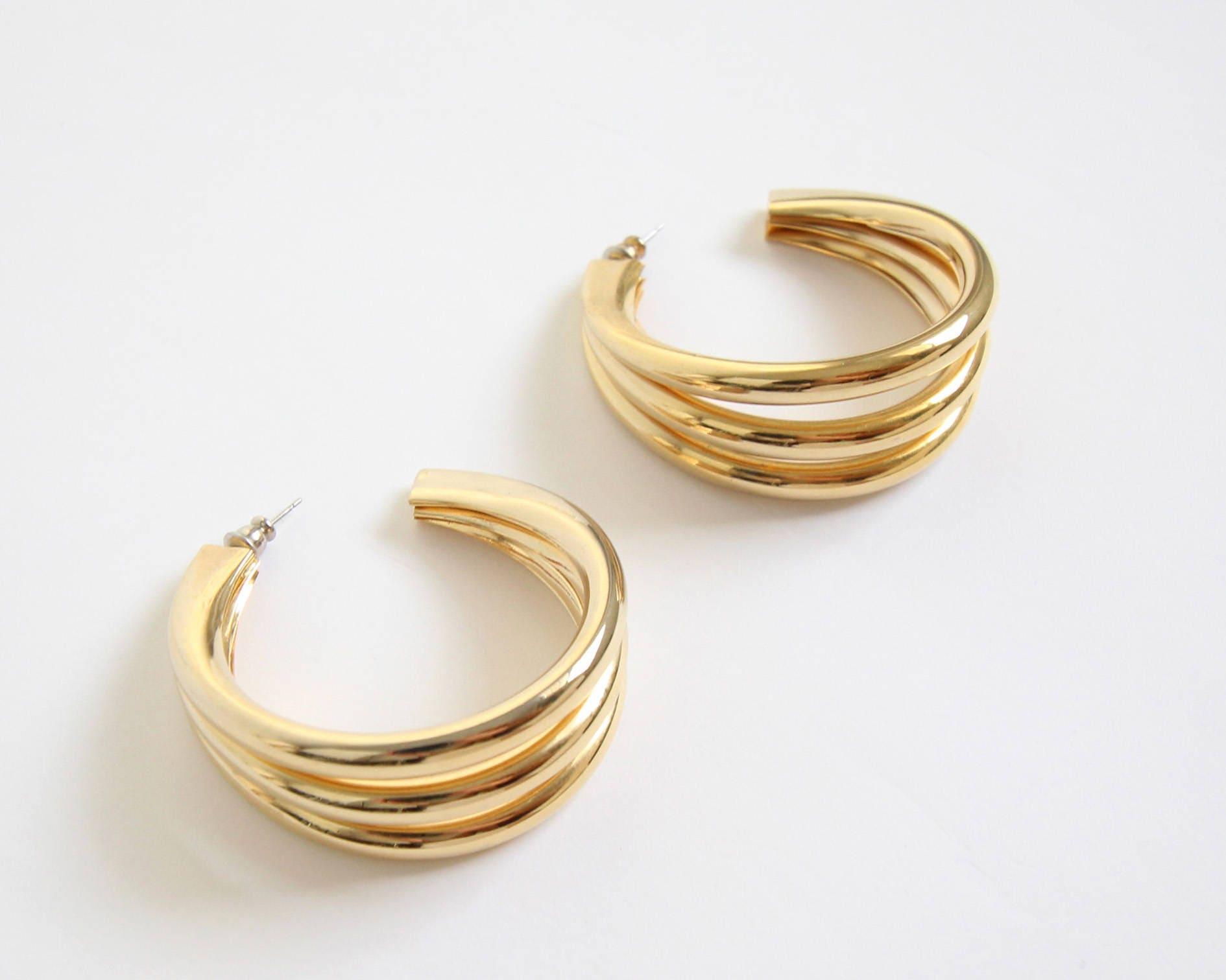 pierced excellent modernist vintage authentic abstract gold earrings pin givenchy
