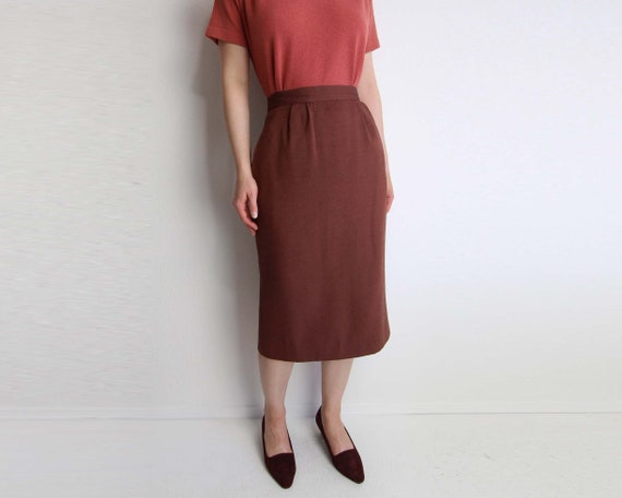 Vintage Skirt Pencil Skirt 1980s Brick Red Womens