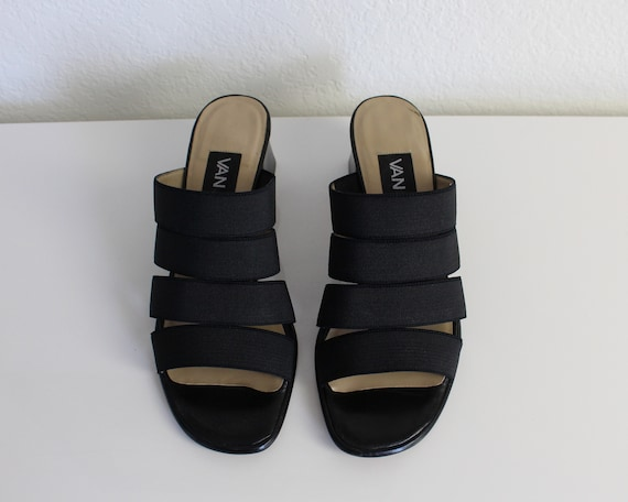 Vintage 1990s Mules Black Strappy Sandals Womens … - image 5