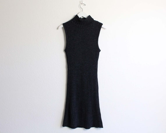 Vintage 1990s Dress Ribbed Knit Gray Sleeveless T… - image 8