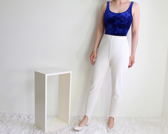 Vintage 1990s Leggings White Stirrups Womens Small