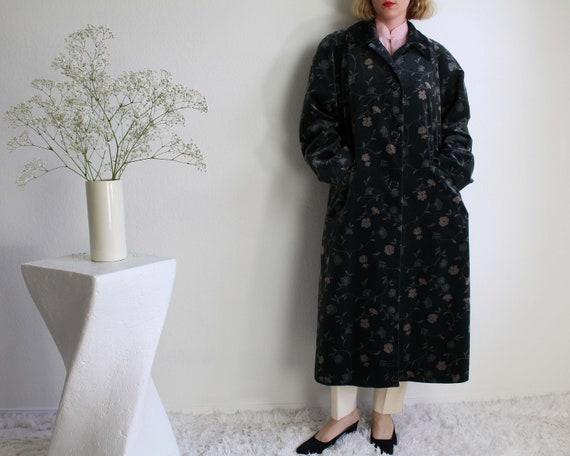 Vintage Womens Coat Floral Velvet Green Medium