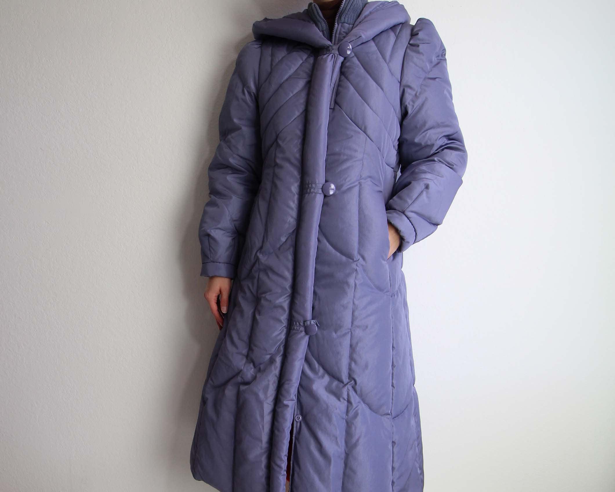 Vintage Puffy Coat 1980s Down Hooded Winter Coat Purple Womens
