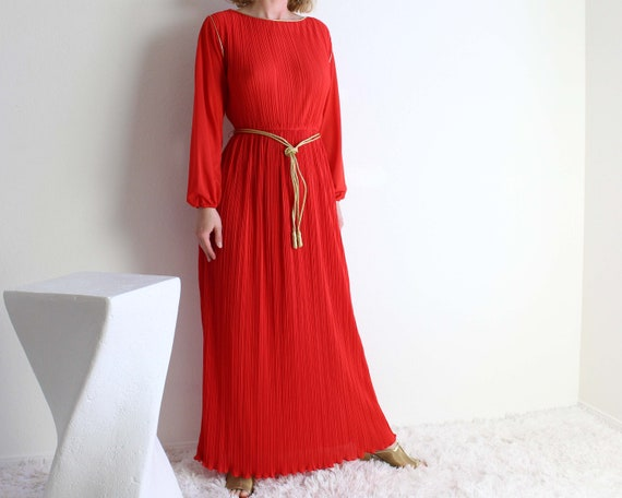 Vintage 1970s Gown Red Dress Womens Small