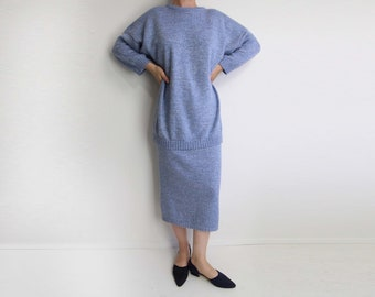 VINTAGE Sweater Knit Skirt Set 1980s Metallic Periwinkle Small
