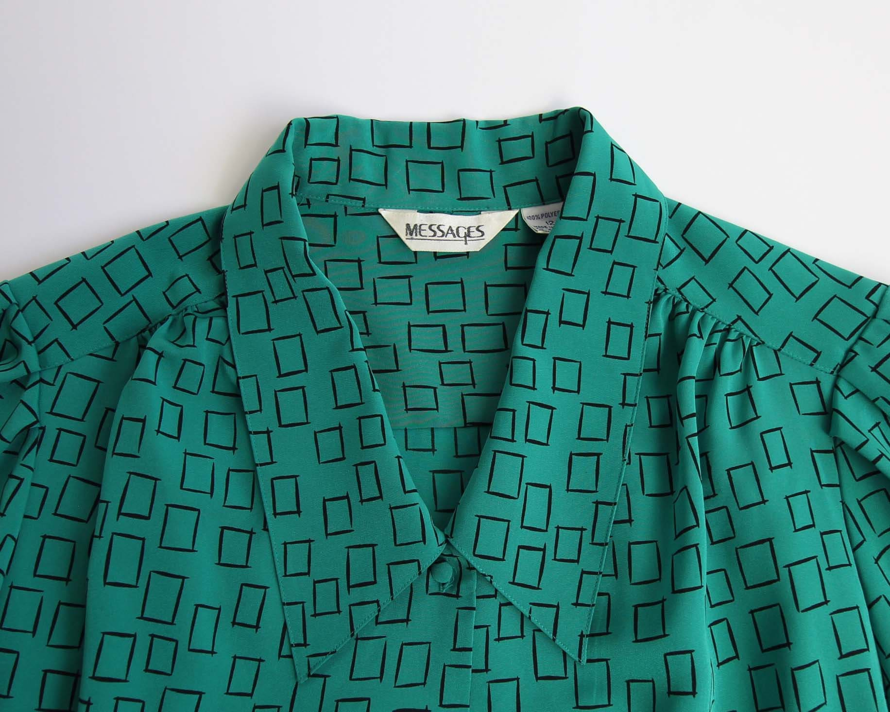 Vintage Green Blouse 1980s Printed Collar Shirt Longsleeve Womens