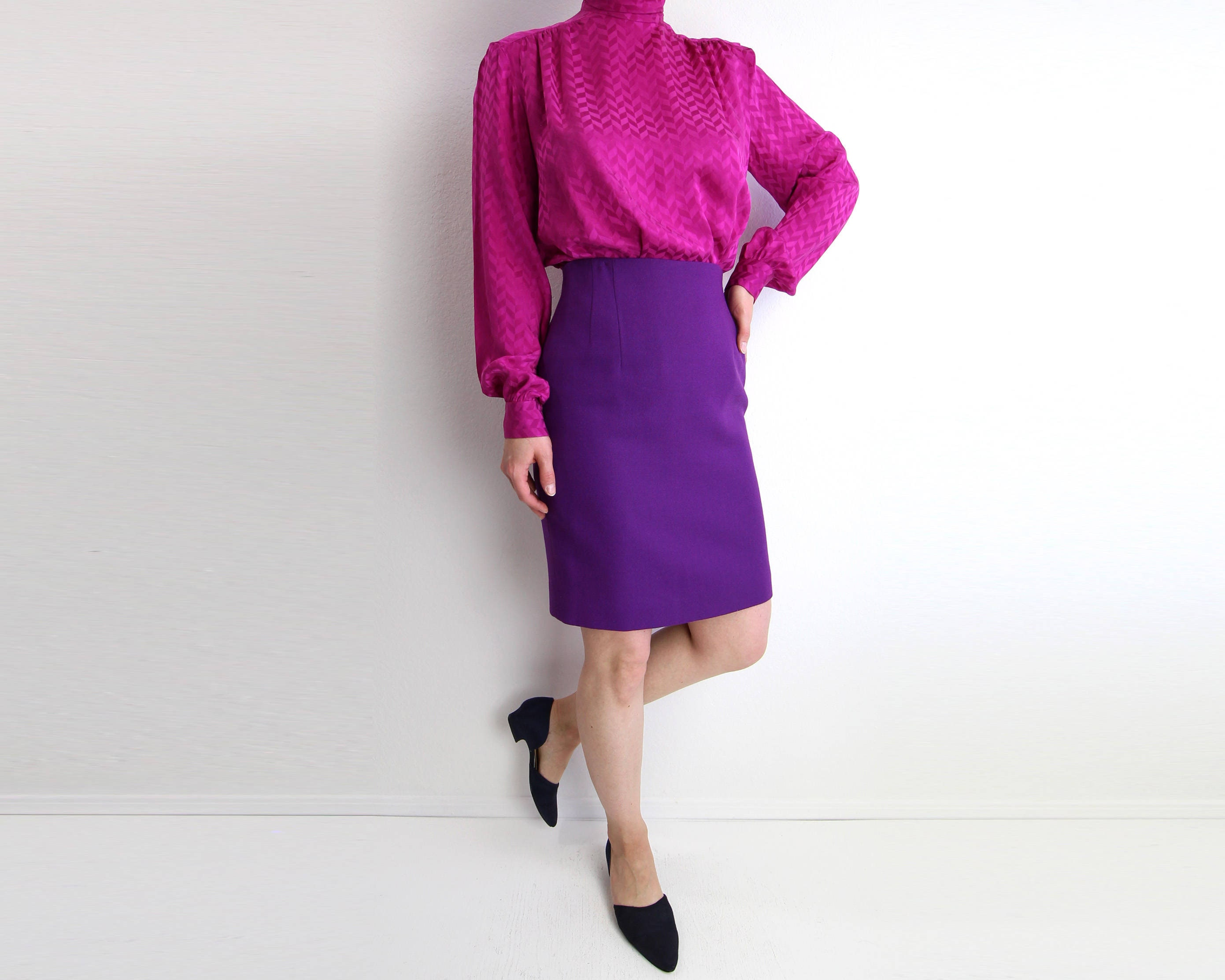 b99404b56ae Vintage Skirt Purple Skirt Pencil Skirt High Waist Short Wool Womens ...