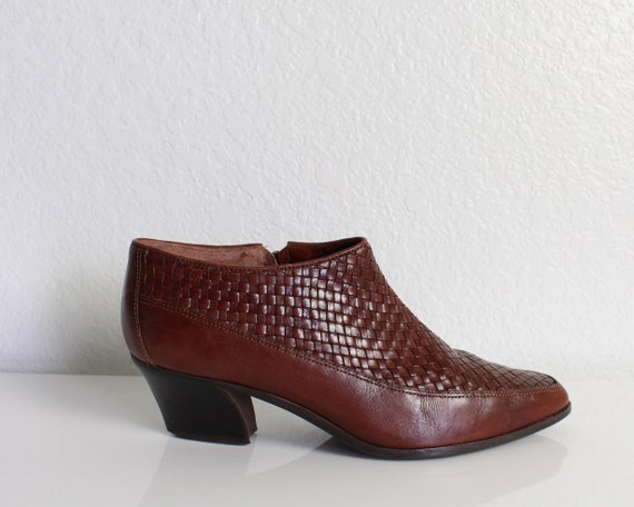 Vintage 1990s Ankle Boots Woven Leather Womens Sho