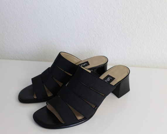 Vintage 1990s Mules Black Strappy Sandals Womens … - image 9