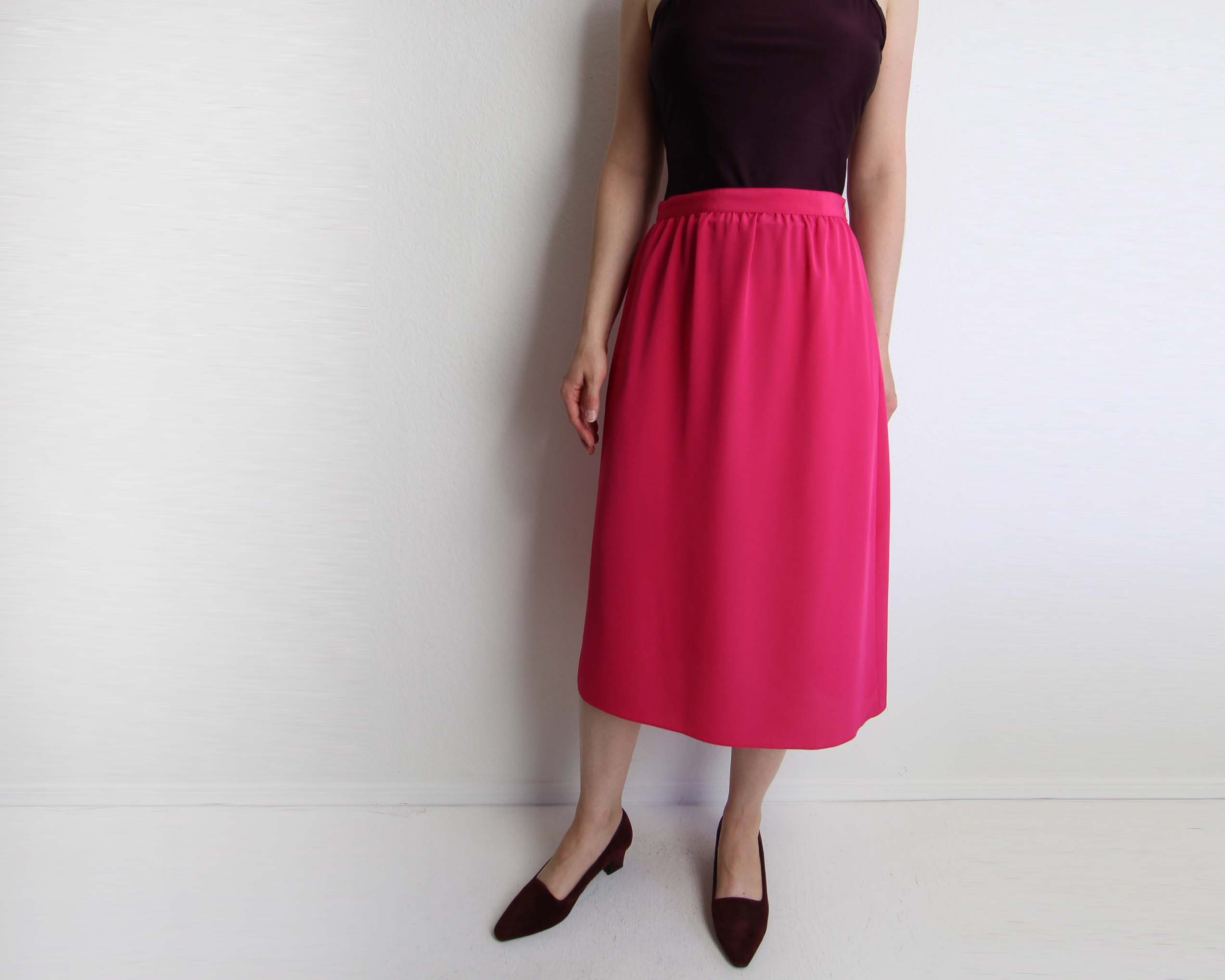9f412c6332d246 Vintage Pink Skirt Womens Small 1980s Gathered Skirt. gallery photo ...