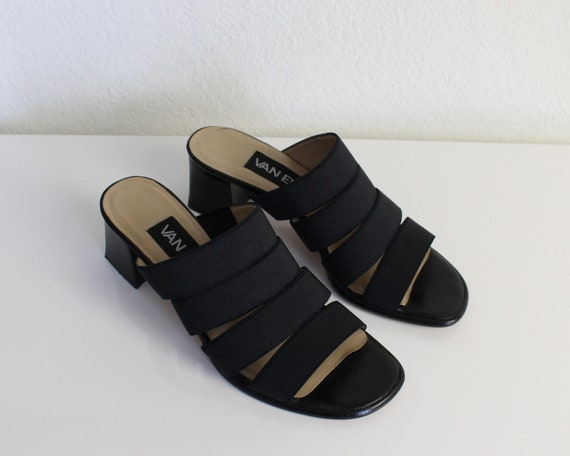 Vintage 1990s Mules Black Strappy Sandals Womens … - image 2