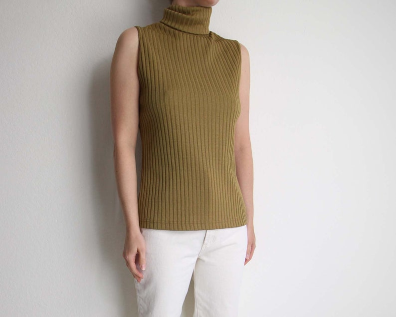 87bb8d31a8f4c Vintage Sleeveless Turtleneck 1970s Womens Top Small