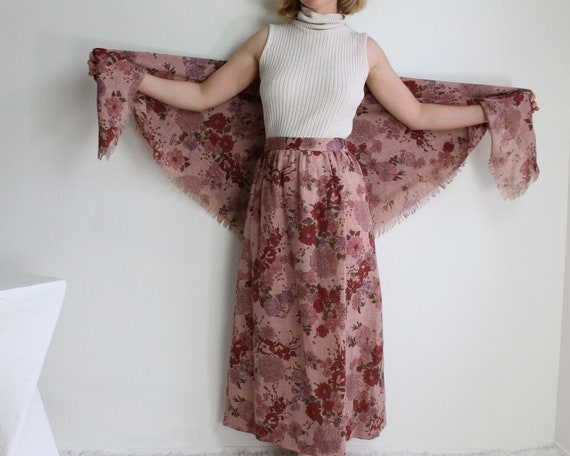 Vintage 1970s Floral Skirt Scarf Set Pink Small