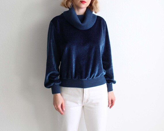 Vintage Womens Sweater 1970s Velour Cowl Neck Pull